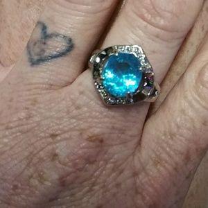Aqua blue gem in 925 silver size 8